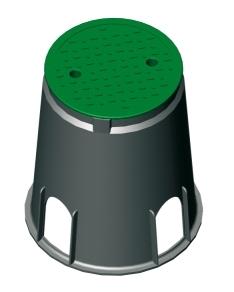 """Ventilkasten Ventilbox Bewässerung rund mit Deckel Kunststoff /""""MINI/"""""""